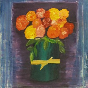 Flowers in Green Vase