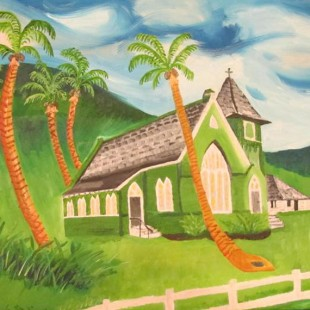 Church and Palm Trees